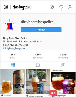 Dirty beer glass police